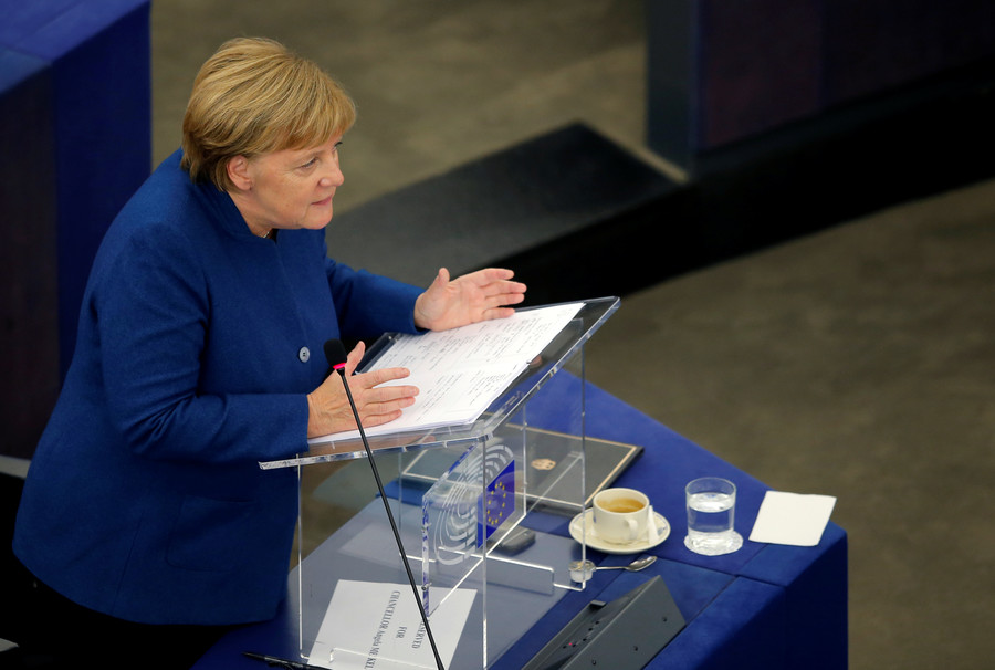 Merkel joins Macron in call for 'real, true' European army after Trump slams idea