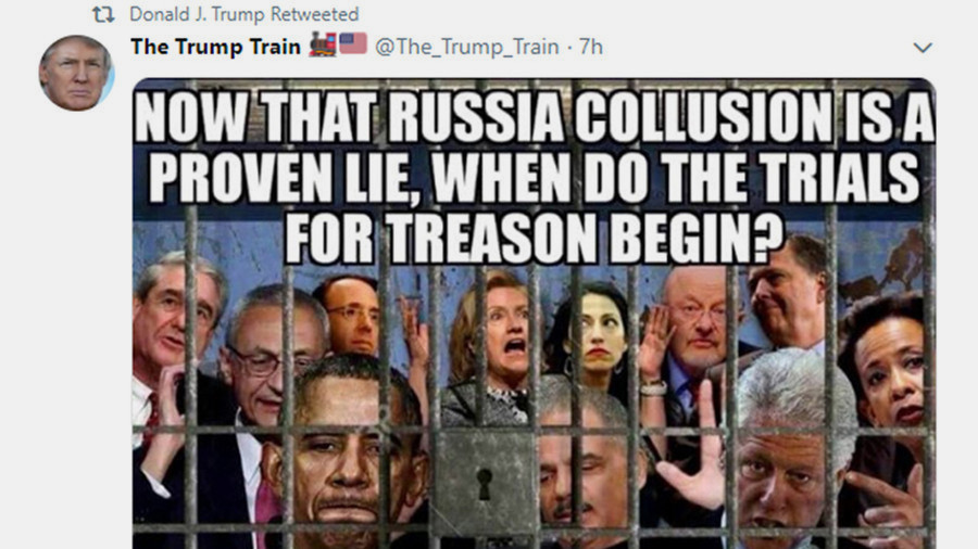 Trump retweets image of US deputy attorney general among others jailed 'for treason'
