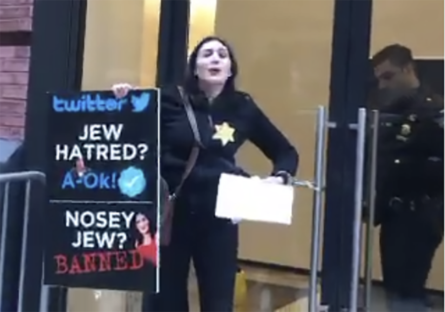 'Twitter hates Jews!' Laura Loomer handcuffs self to company's HQ in bizarre protest (VIDEOS)