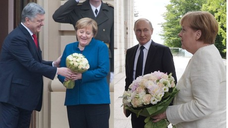 Flower power battle? Twitter abuzz as Poroshenko takes leaf out of Putin's book with Merkel bouquet