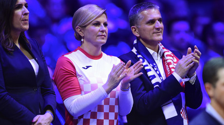 Second time lucky? Sports-mad Croatia leader Grabar-Kitarovic watches Davis Cup showdown v France