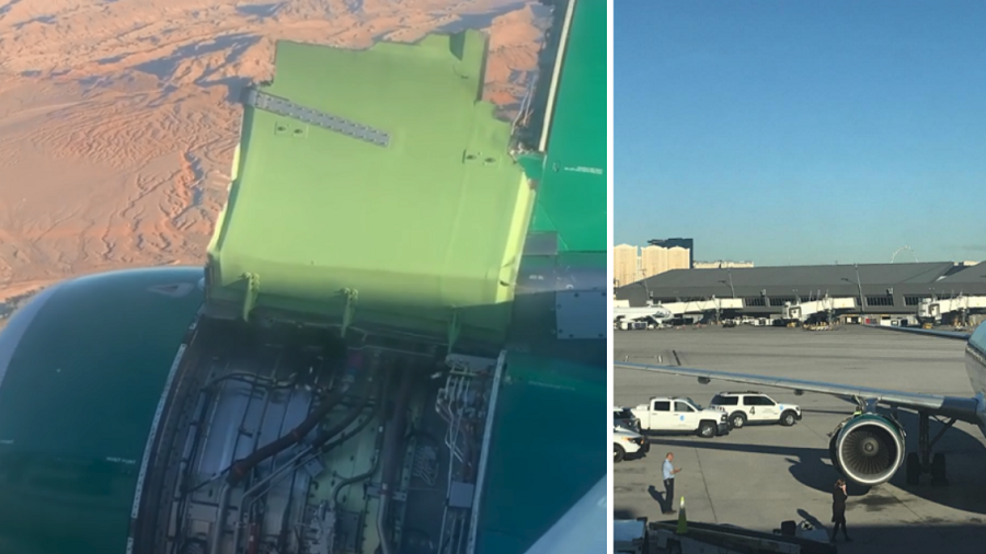 Section of Engine Cover Comes Loose During Flight