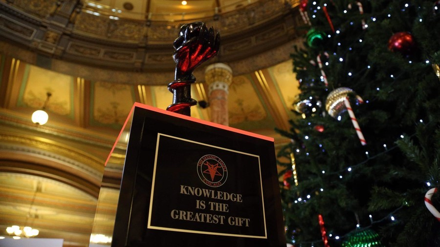'Bringing Satan to Springfield!' Satanic Christmas monument erected in Illinois statehouse