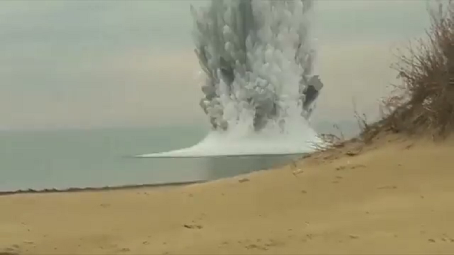 VIDEO captures HUGE plume of smoke as WWII mine explodes near Russian Black Sea resort