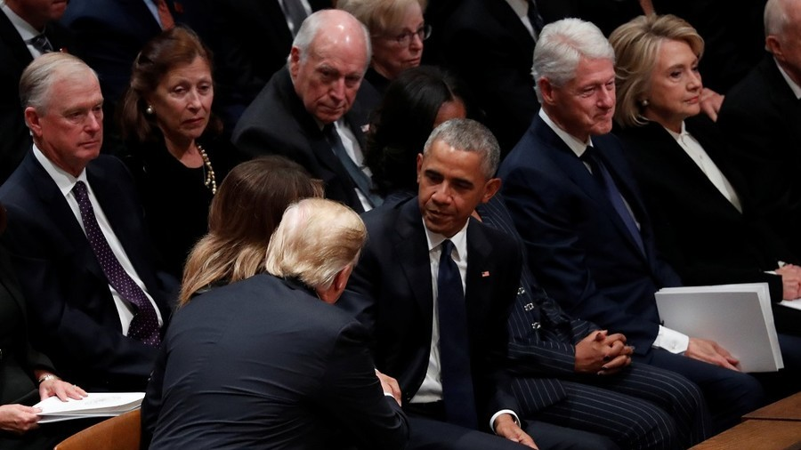Trump ignores stone-faced Hillary, greets Obamas as all sit awkwardly together at Bush 41's funeral
