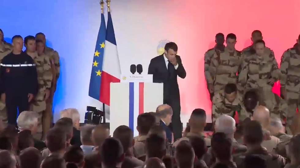 French soldier faints during La Marseillaise after Macron speech