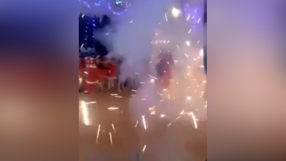 OMG! Panic & loud bangs as fireworks explode at children's New Year party