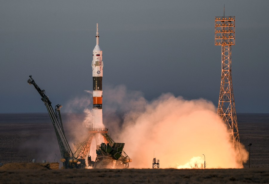 Soyuz rocket blasts ISS crew into space in 1st manned flight since dramatic launch failure