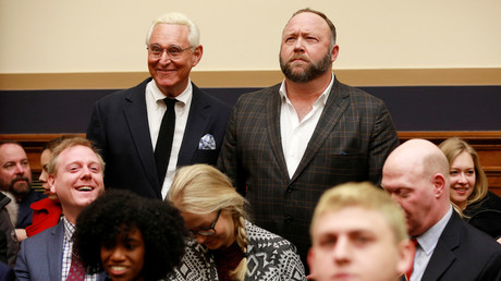Roger Stone and Alex Jones at Tuesday's House hearing © Reuters / Jim Young