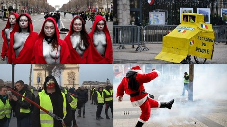 Lightsaber-wielding Sith, bare-breasted Mariannes & Santas add flair to Yellow Vest protests