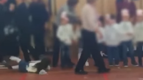 Christmas catfight: Mothers spice-up their kids' nativity play with a brawl for a front row (VIDEO)