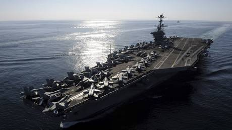 US Navy handout photo of the USS John C. Stennis aircraft carrier in the Straits of Hormuz