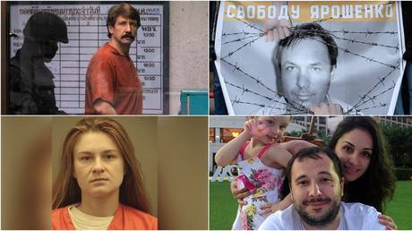 © (top left) Viktor Bout / Reuters / Damir Sagolj; (top right) A placard with an image of Konstantin Yaroshenko / Sputnik; (bottom left) Maria Butina / Reuters / Alexandria Sheriff's Office; (bottom right) Family photo of Roman Seleznyov / AFP