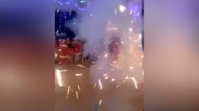 OMG! Panic & loud bangs as fireworks explode at children's New Year party (VIDEO)