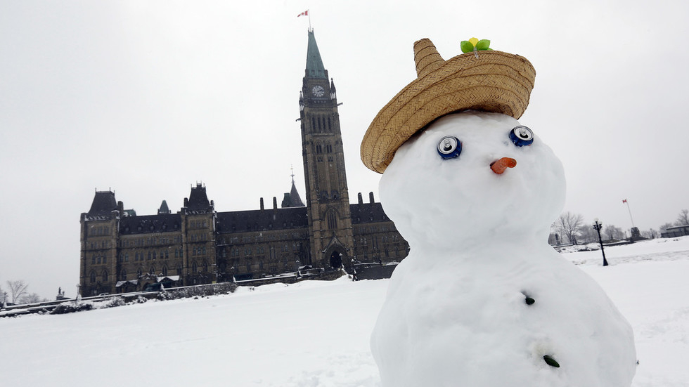 Canadian MP gets brisk reminder of Canadian winter as his glass of water FREEZES SOLID