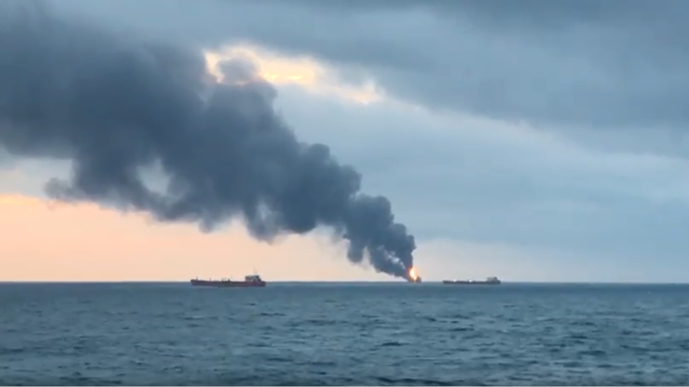 2 ships on fire in Kerch strait, after blast reportedly rocks one of them