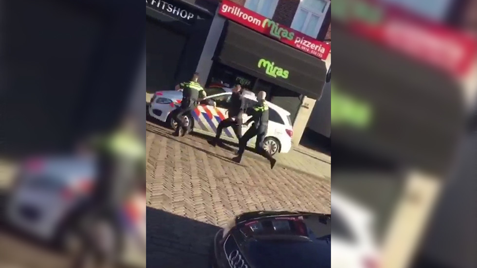 Street fighter injures 3 cops in insane Dutch daylight brawl