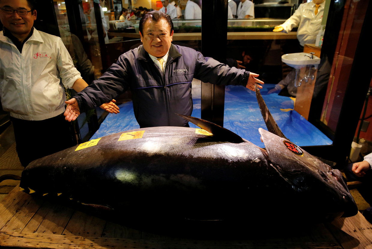 Giant tuna fetches record $3.1 million in auction at Japan´s new market