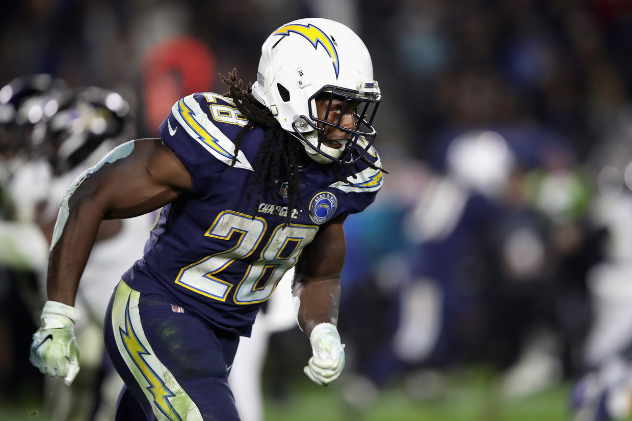Melvin Gordon #28 of the Los Angeles Chargers