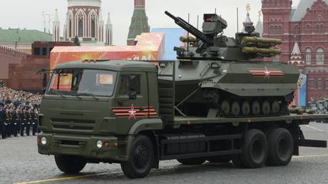 The Uran-9 drone on a truck during a parade in Moscow. ©Sputnik / Ilya Pitalev