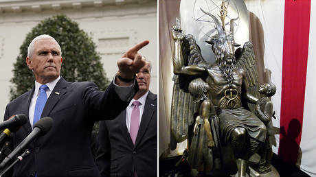 US VP Mike Pence (L) and a statue of Baphomet, the symbol of Satanism © Reuters / Joshua Roberts (L); Reuters / Ted Siefer