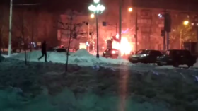 Minibus bursts in flames killing three in Russian city  where house collapsed (VIDEO)