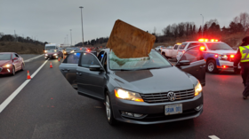 2 women have miraculous escape after plywood smashes through car windshield (PHOTOS)