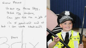 'I've got my police dog, uniform': 5yo boy offers to pull weekend shift with Scottish cops (PHOTOS)