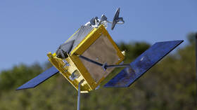 FILE PHOTO. A model of a OneWeb satellite. ©Global Look Press via ZUMA Press / Kim Shiflett