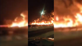 Apocalyptic blaze stuns motorists at highway outside Moscow (VIDEO)