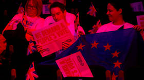 A rally demanding a second Brexit referendum in London in December.