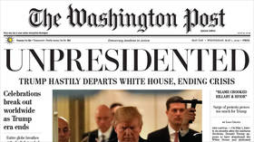 Fake Washington Post copies announcing Trump's resignation handed out in Washington, DC