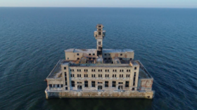 Eerie abandoned Soviet weapons testing site in Caspian Sea captured in DRONE VIDEO