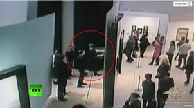 Heist of the year: Moment $182k painting stolen in front of dozens of visitors caught on CCTV