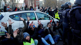 Madrid taxi drivers block city center as they step up anti-Uber protest (VIDEO)