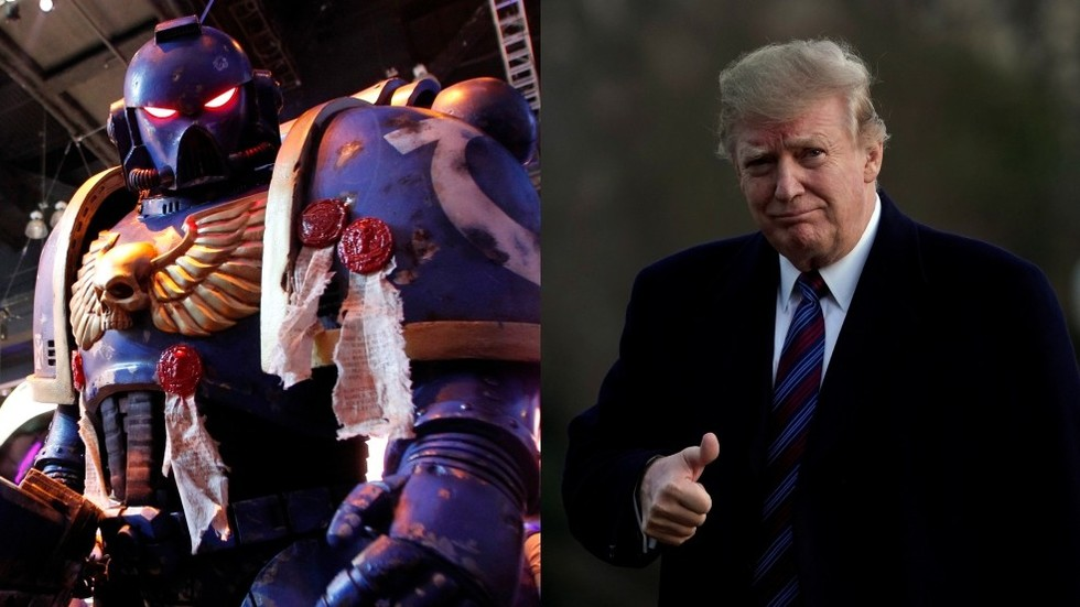 'Twitter is his sword': EPIC Warhammer 40k Trump steals the show at Italian carnival