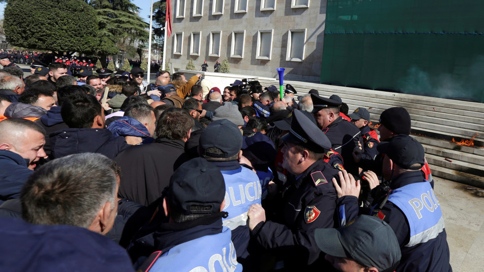 Chaotic Scenes In Albania As Opposition Attempts To Storm