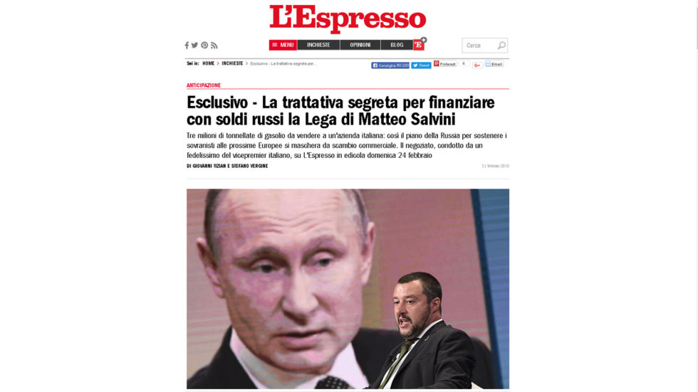Moscow refutes 'fantasy' report on 'secret talks' between Salvini & Russian deputy PM