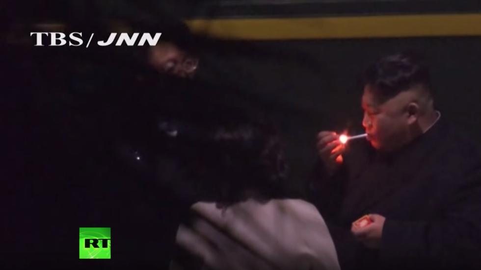 Supreme smoke break: Kim Jong-un stops for cigarette en route to Hanoi peace summit