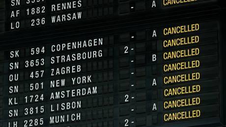 Belgium paralyzed as massive strike cancels all flights, halts public transport & blocks roads