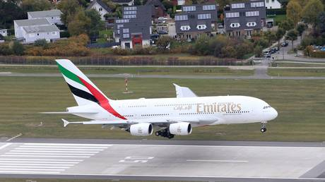 FILE PHOTO: Airbus A380 lands in Hamburg © Global Look Press