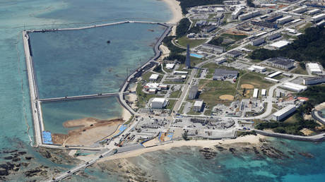 The relocation site for US Marine Corps Air Station Futenma, February 23, 2019.