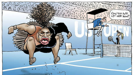 Serena Williams' cartoon © AFP / HERALD SUN / MARK KNIGHT