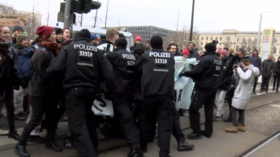 German police drag anti-coal activists during standoff outside Economy Ministry in Berlin (VIDEO)