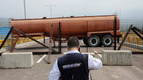 A fuel tank blocks the passage on Tienditas cross-border bridge between Colombia and Venezuela