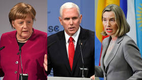 Angela Merkel, Mike Pence and Federica Mogherini © (L) Andreas Gebert / Reuters; (C) Andreas Gebert / Reuters; (R) Eduardo Munoz / Reuters