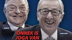 Detail of Hungarian government poster depicting George Soros and Jean-Claude Juncker