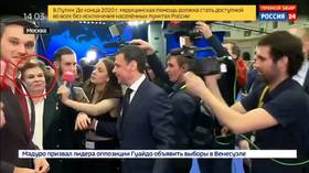 First woman in space MOBBED by journalists chasing finance minister (VIDEO)