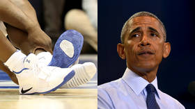 'His shoe broke!': Incredulous Obama shocked at exploding sneaker in basketball game (VIDEO)
