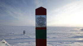 A Russian border marker on the Arctic islands of Franz Josef Land